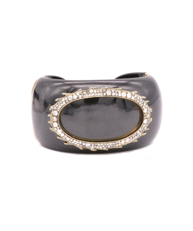 Wide black jade cuff