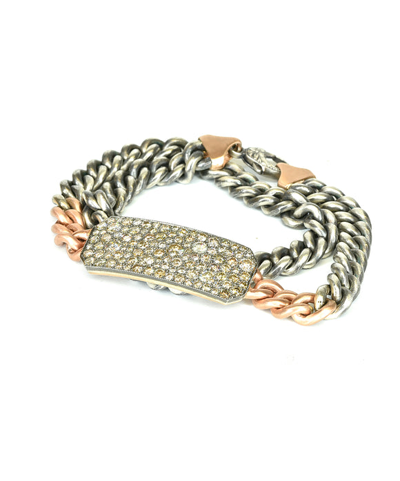 Ten Table bracelet with champagne diamonds