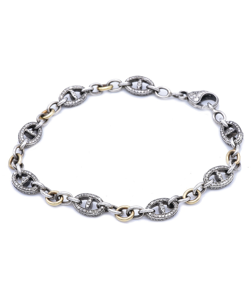 Long Mariner link bracelet with champagne diamonds