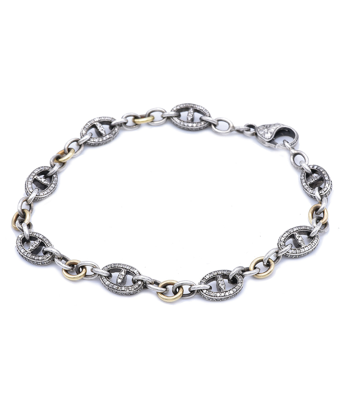 Long Mariner link bracelet with champagne diamonds - Lesley Ann Jewels