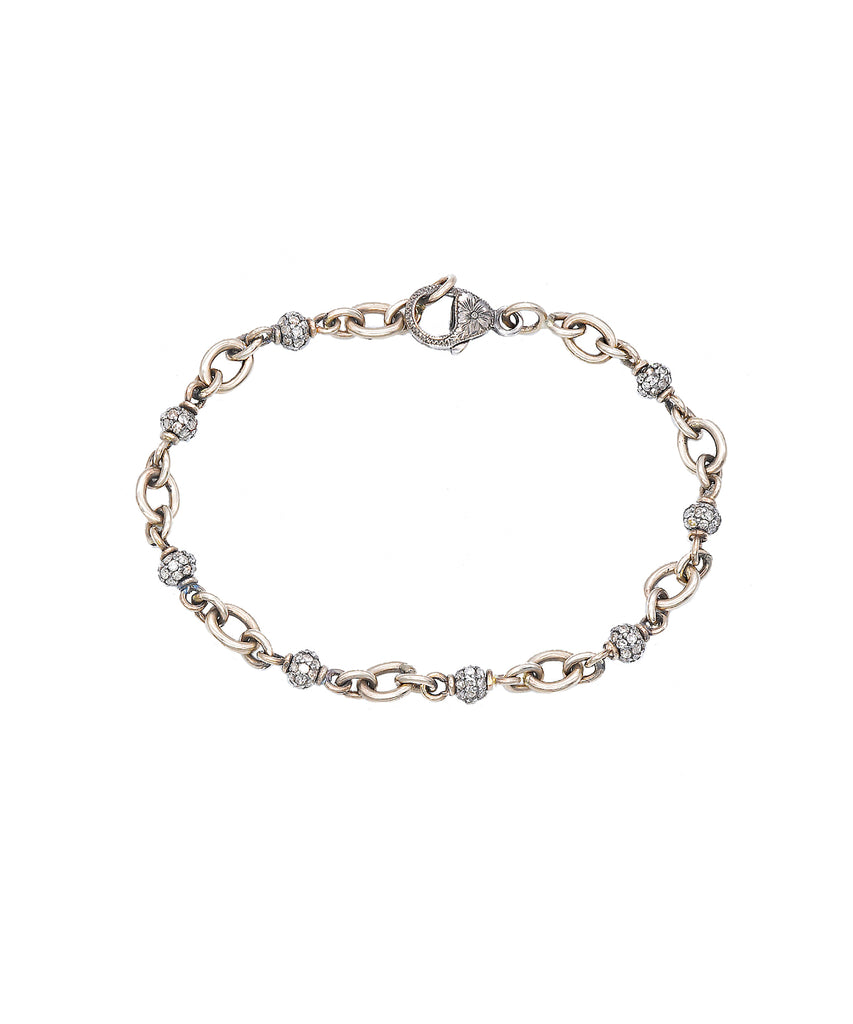Diamond Bead Bracelet in White Gold - Lesley Ann Jewels