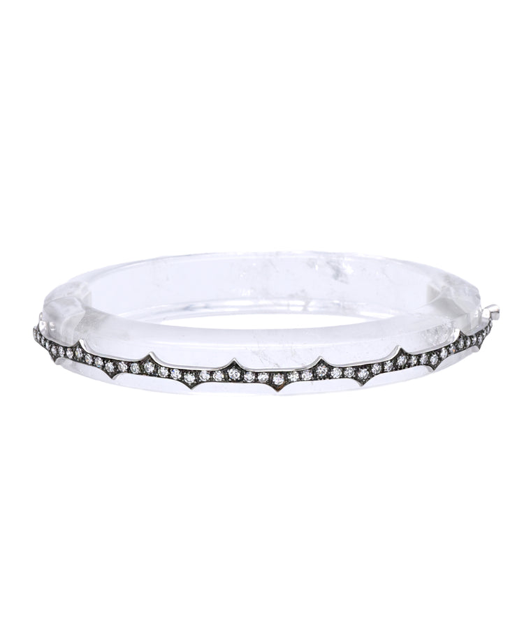 Clear Quartz Bangle with Diamonds