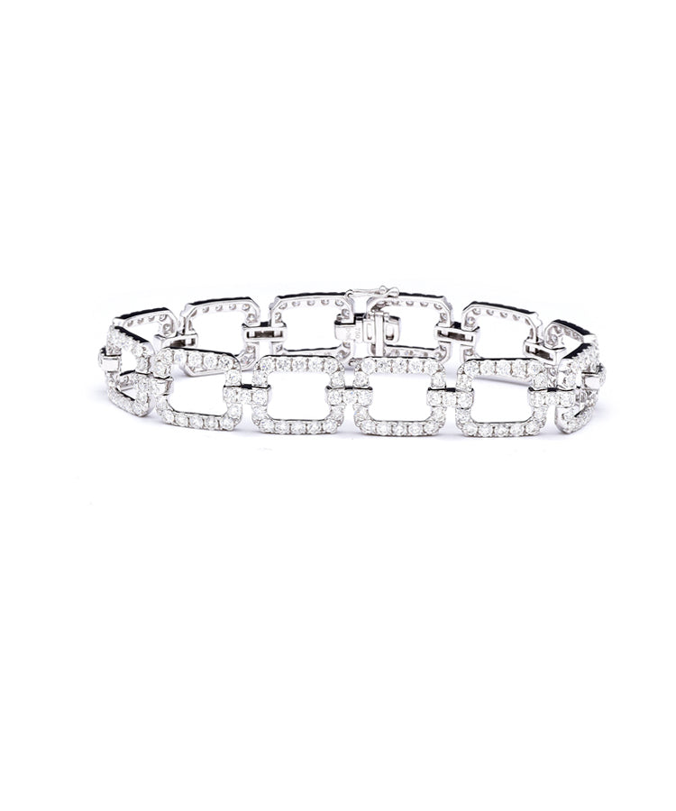 Open Link Diamond Bracelet - Lesley Ann Jewels