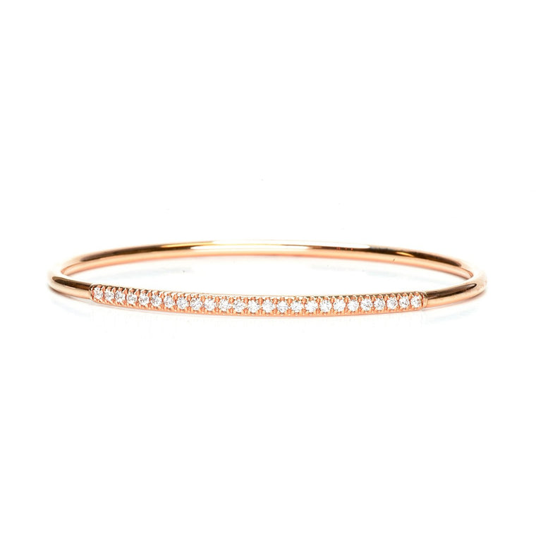 Rose gold diamond bangle