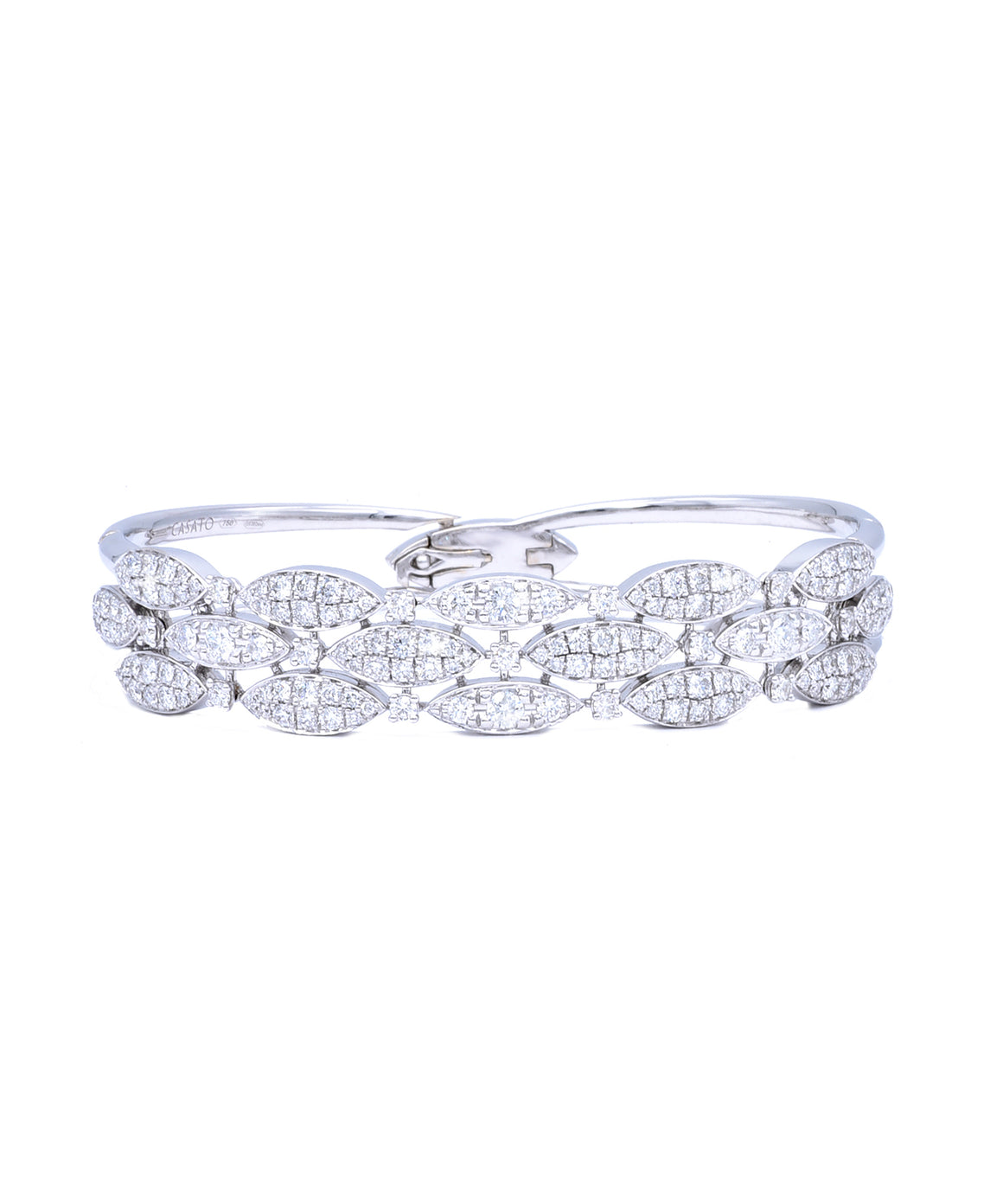 Diamond Marquise Hinged Bangle - Lesley Ann Jewels