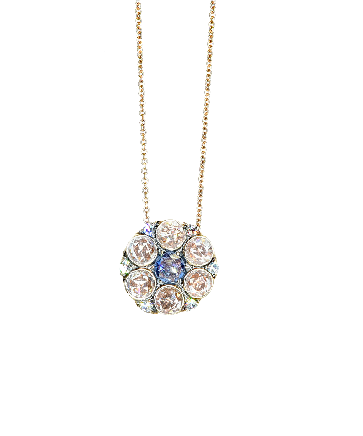 Rose Cut Diamond and Sapphire Flower Pendant - Lesley Ann Jewels