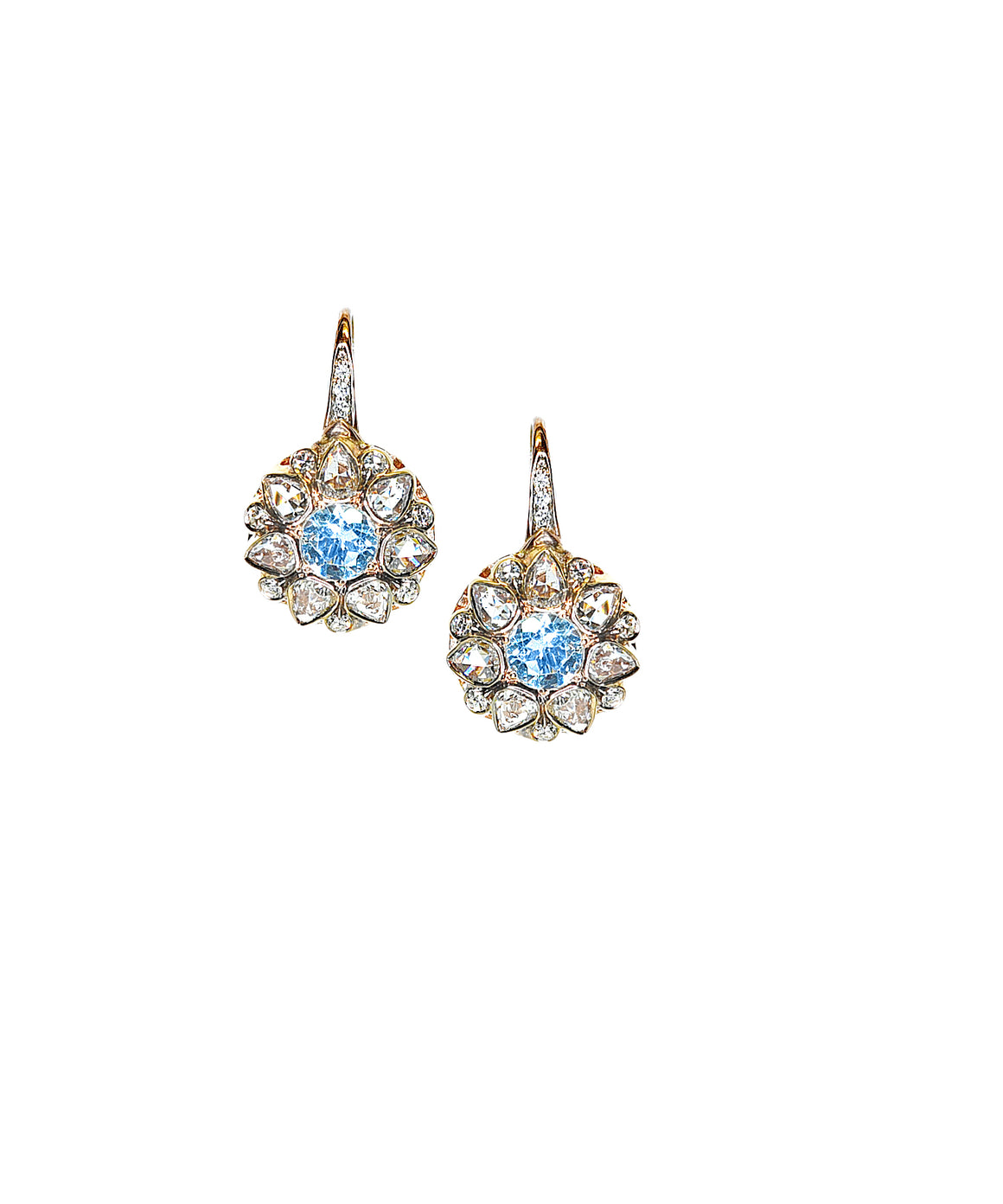 Aqua and Rose-Cut Diamond Drop Earrings - Lesley Ann Jewels