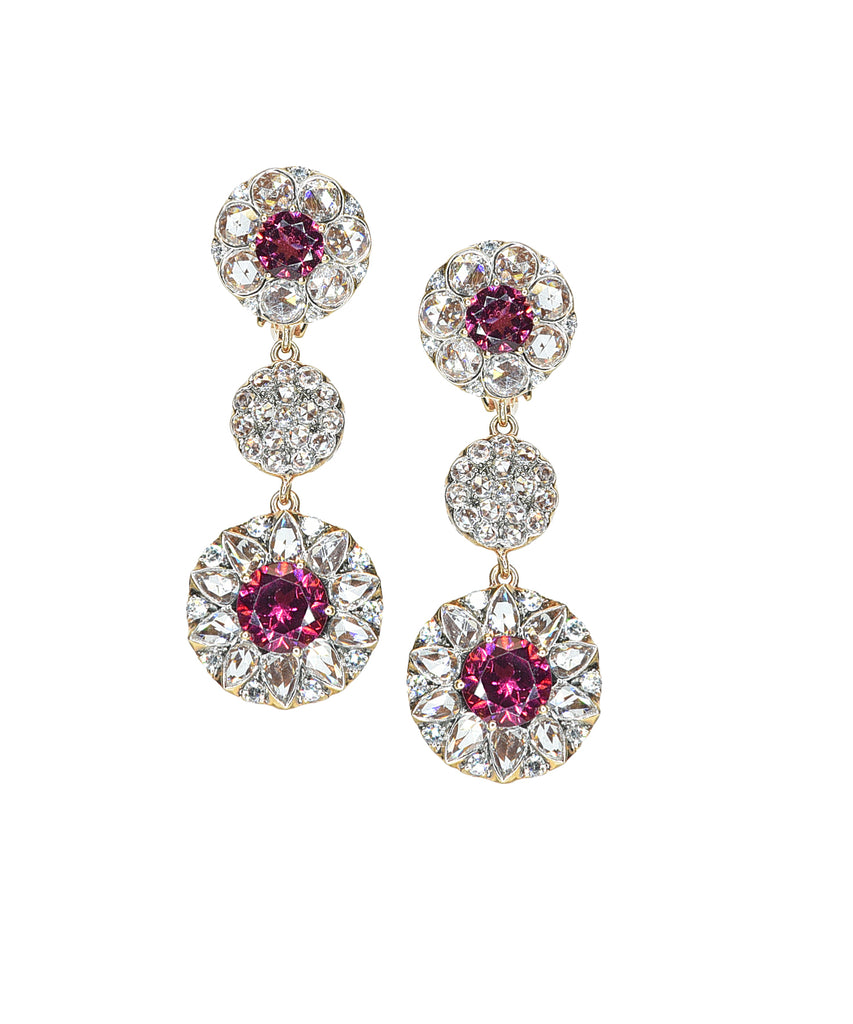 Rhodolite garnet triple-drop earrings