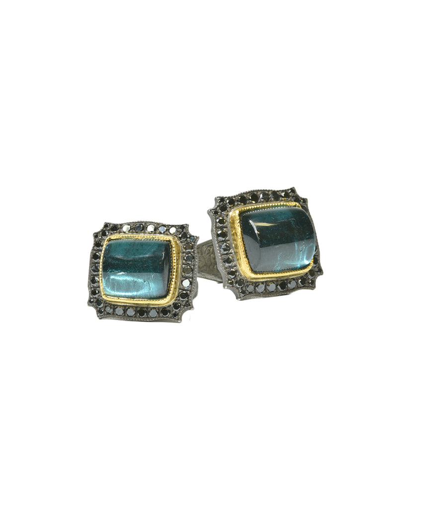 Blue tourmaline cufflinks