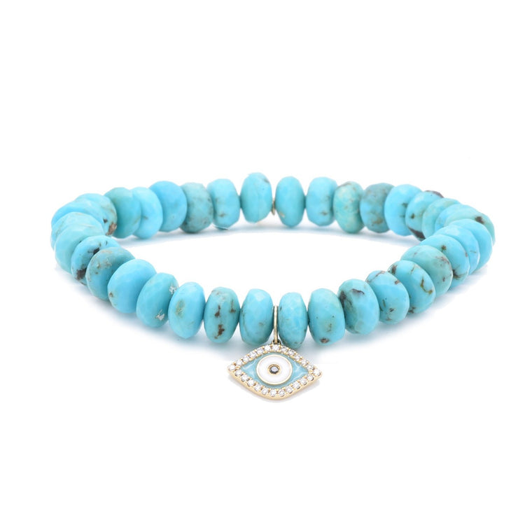 Evil Eye Charm on Turquoise Bead Bracelet
