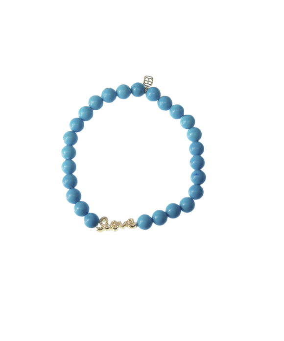 Turquoise bracelet with love charm