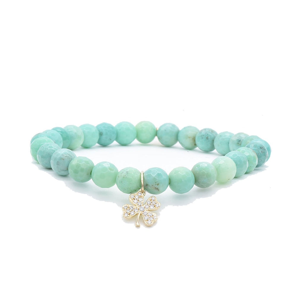 Clover Charm on Green Opal Bead Bracelet - Lesley Ann Jewels