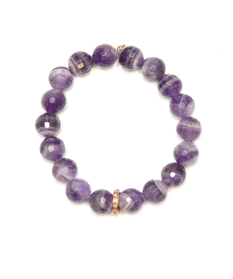 Amethyst Bead Bracelet with Diamond Rondelle - Lesley Ann Jewels