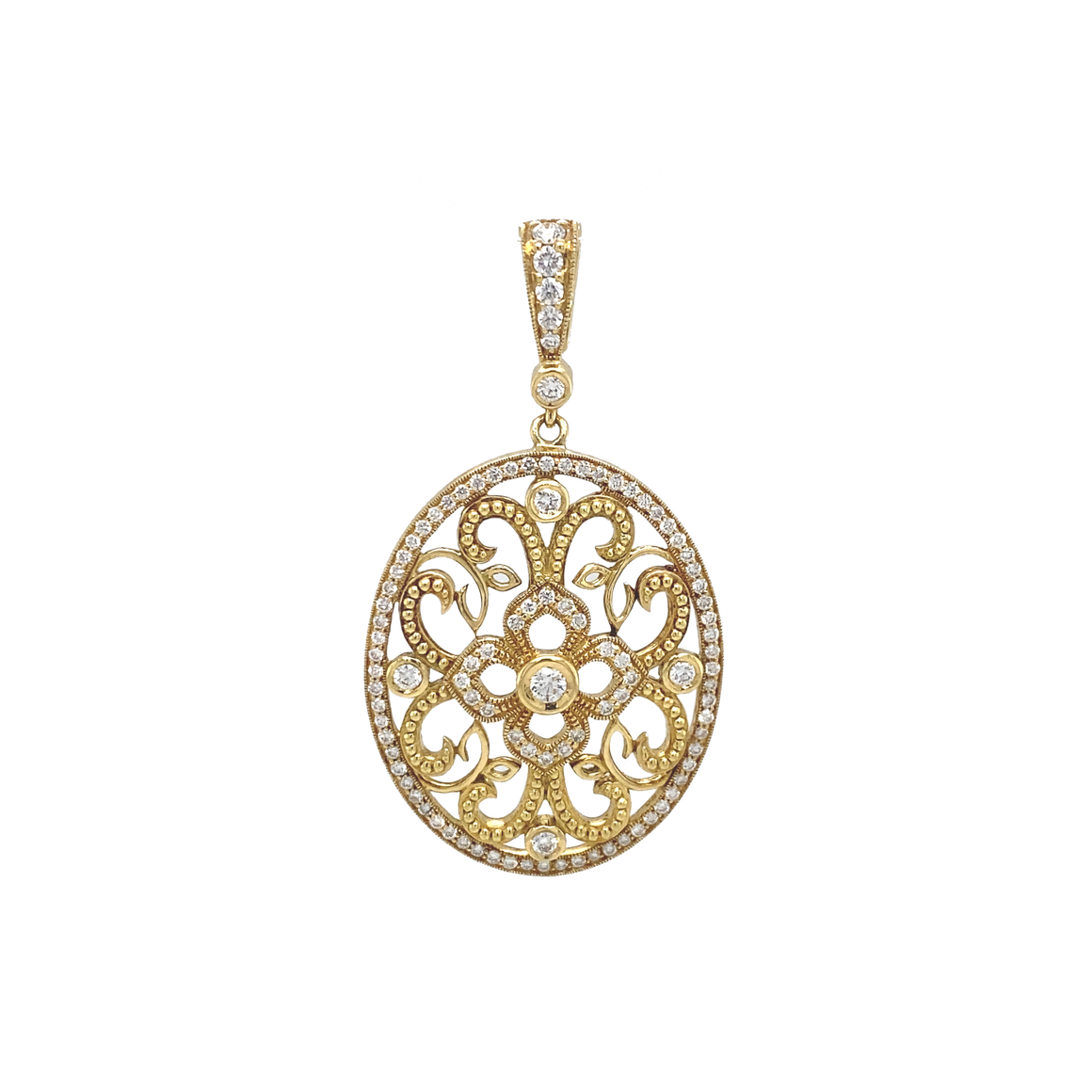 Beaded Curly Lace Pendant - Lesley Ann Jewels