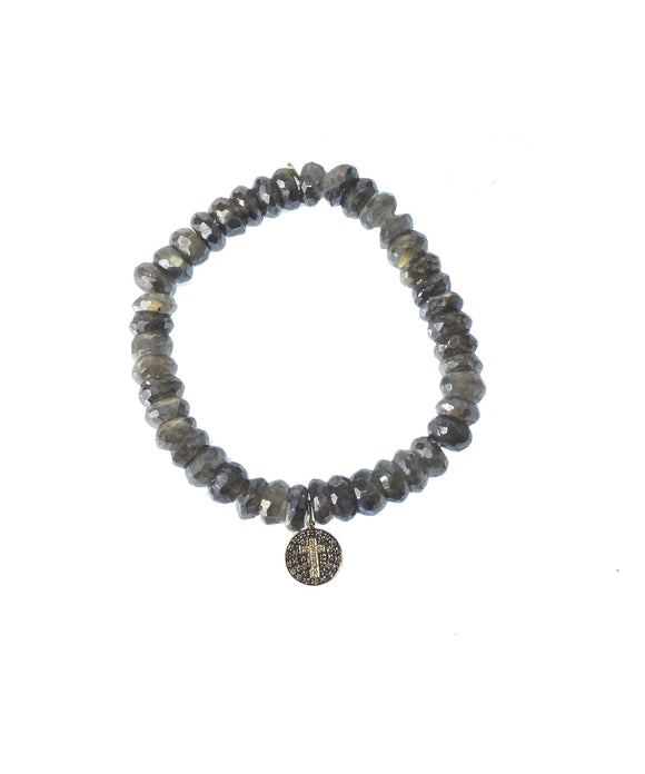 Faceted labradorite bracelet with cross medallion