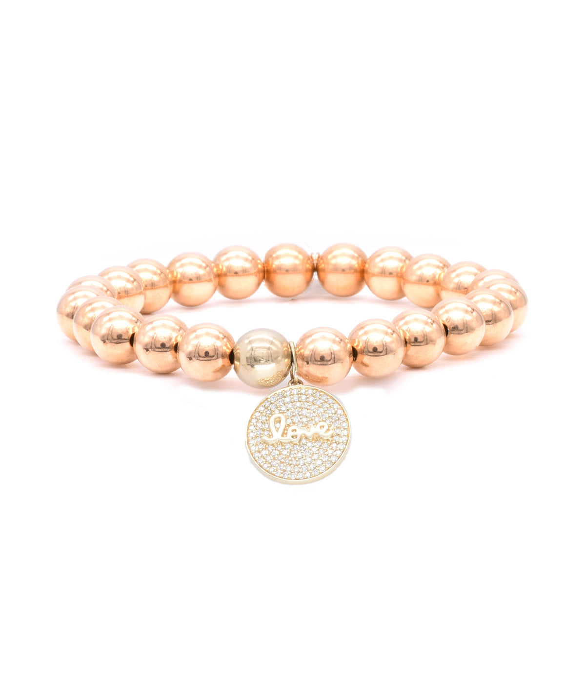 Polished Gold Bead Bracelet with Script Love Charm - Lesley Ann Jewels