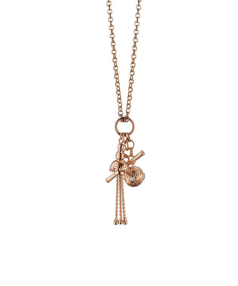 Rose gold charm necklace