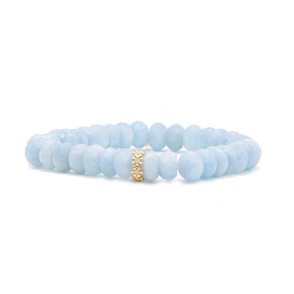 Daisy Rondelle on Aquamarine Bead Bracelet - Lesley Ann Jewels