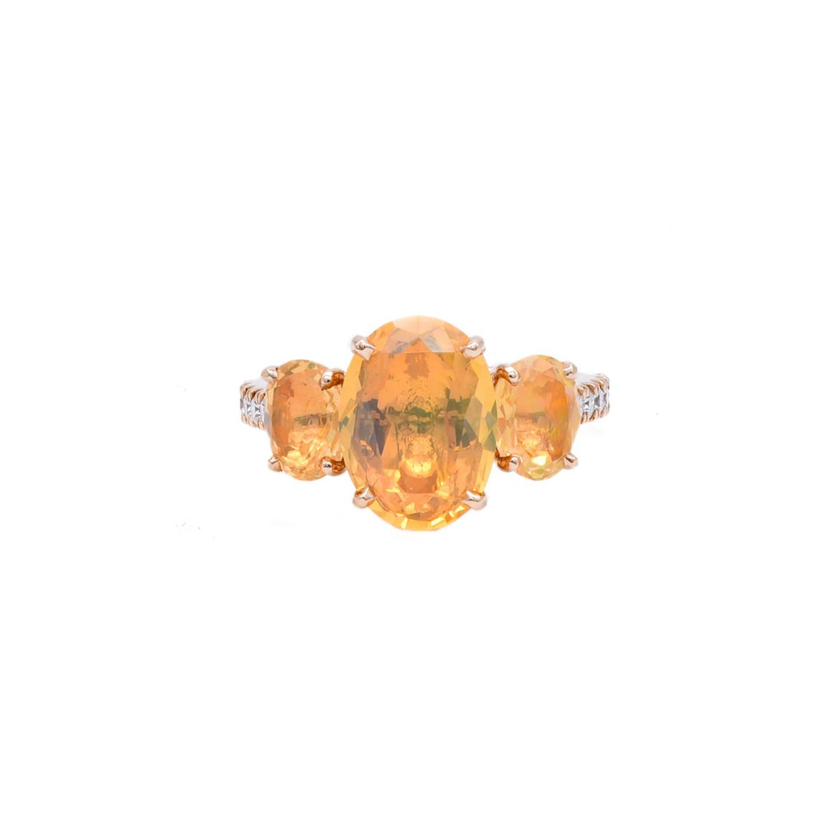 Fire Opal Threestone Ring