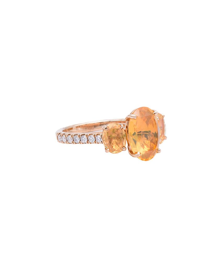 Fire Opal Threestone Ring - Lesley Ann Jewels