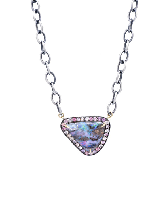 Dramatic boulder opal necklace