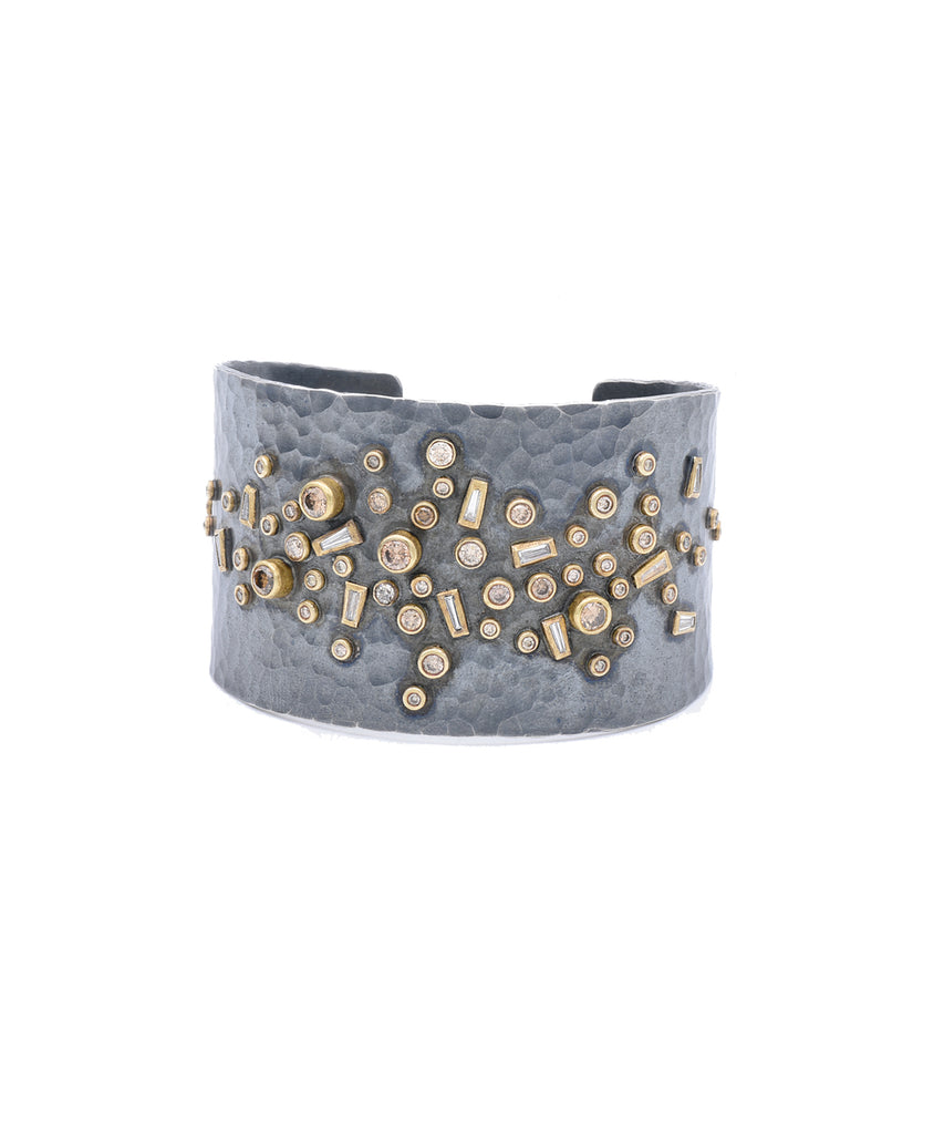 Diamond Baguette Studded Cuff - Lesley Ann Jewels