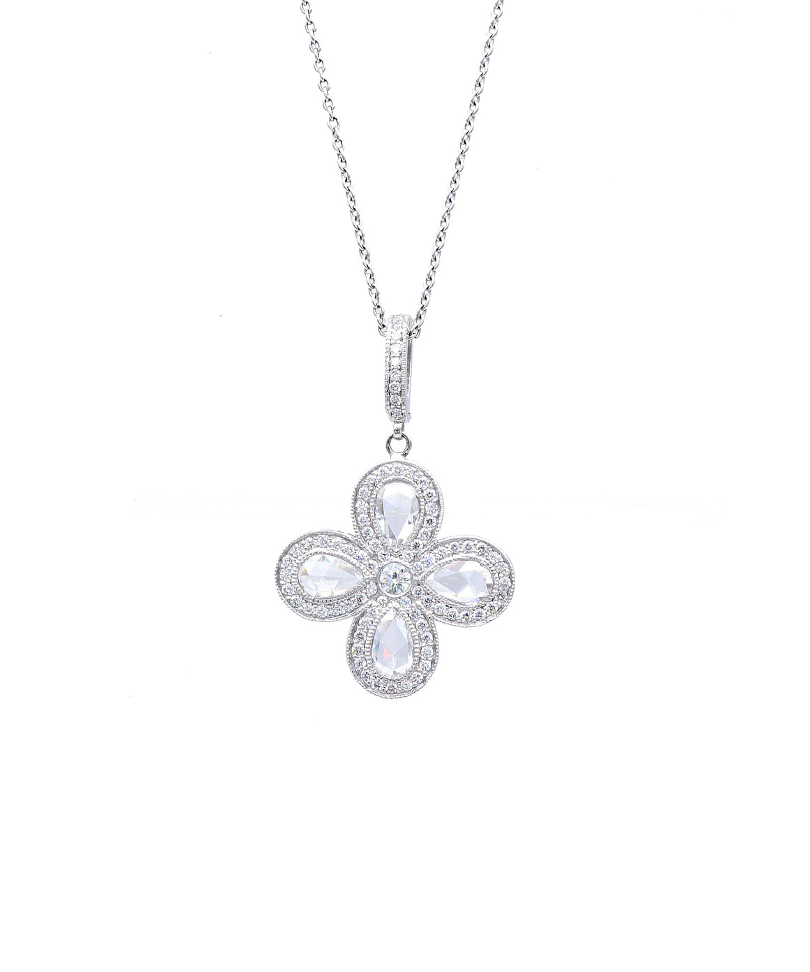 Cross with Rose Cut Diamonds - Lesley Ann Jewels