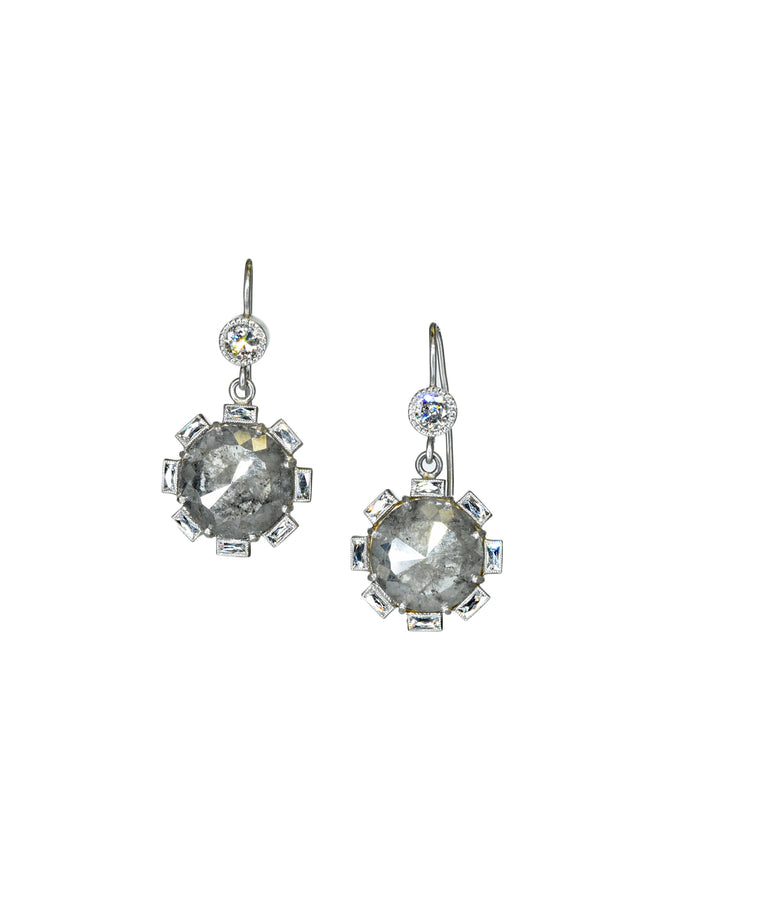 Platinum rough diamond petal earrings
