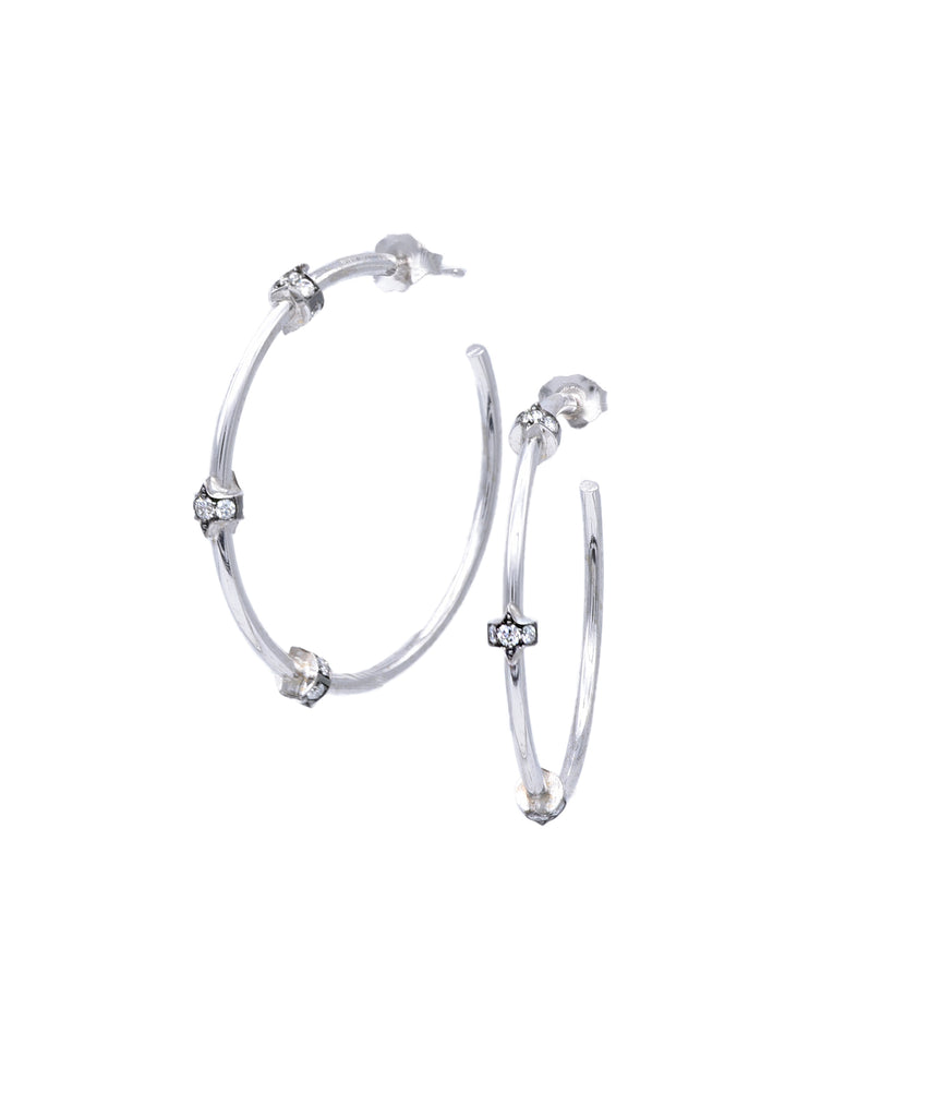 Simple White Gold Diamond Hoops - Lesley Ann Jewels