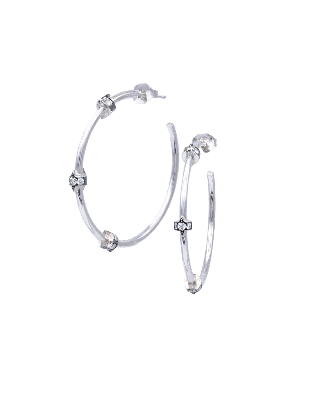 Simple white gold hoops with diamonds