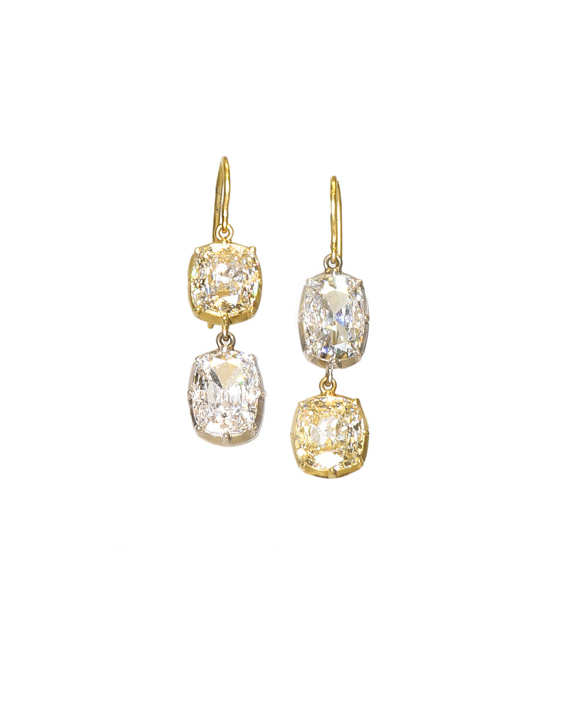 Fabulous Double Drop Diamond Earrings - Lesley Ann Jewels