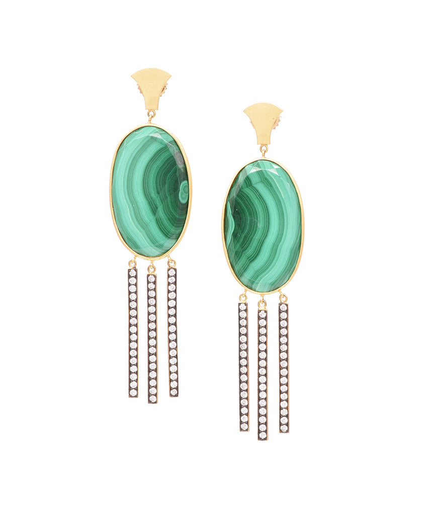 Malachite Earrings with Diamond Fringe - Lesley Ann Jewels