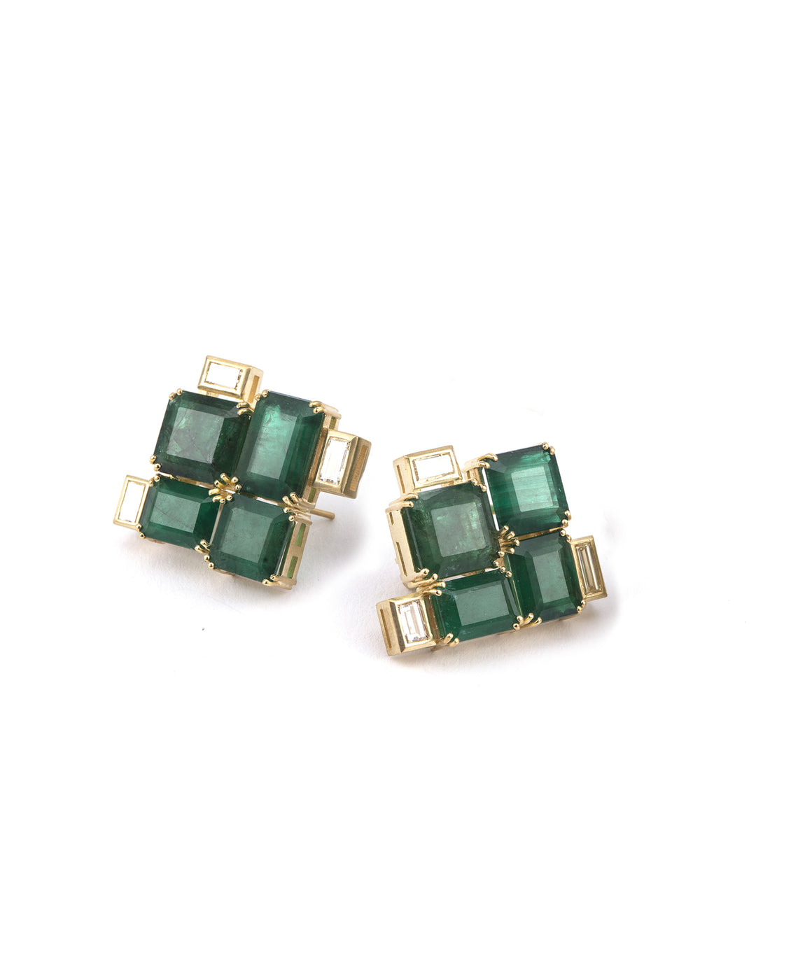 Brazilian emerald button earrings