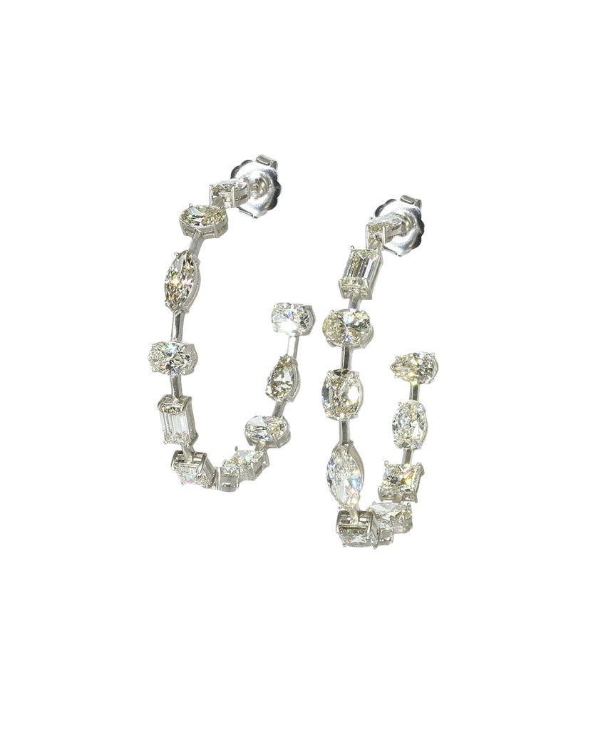 Mixed shape diamond hoop earrings
