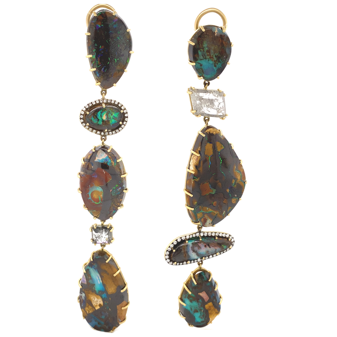 Mixed Shape Opal and Diamond Earrings