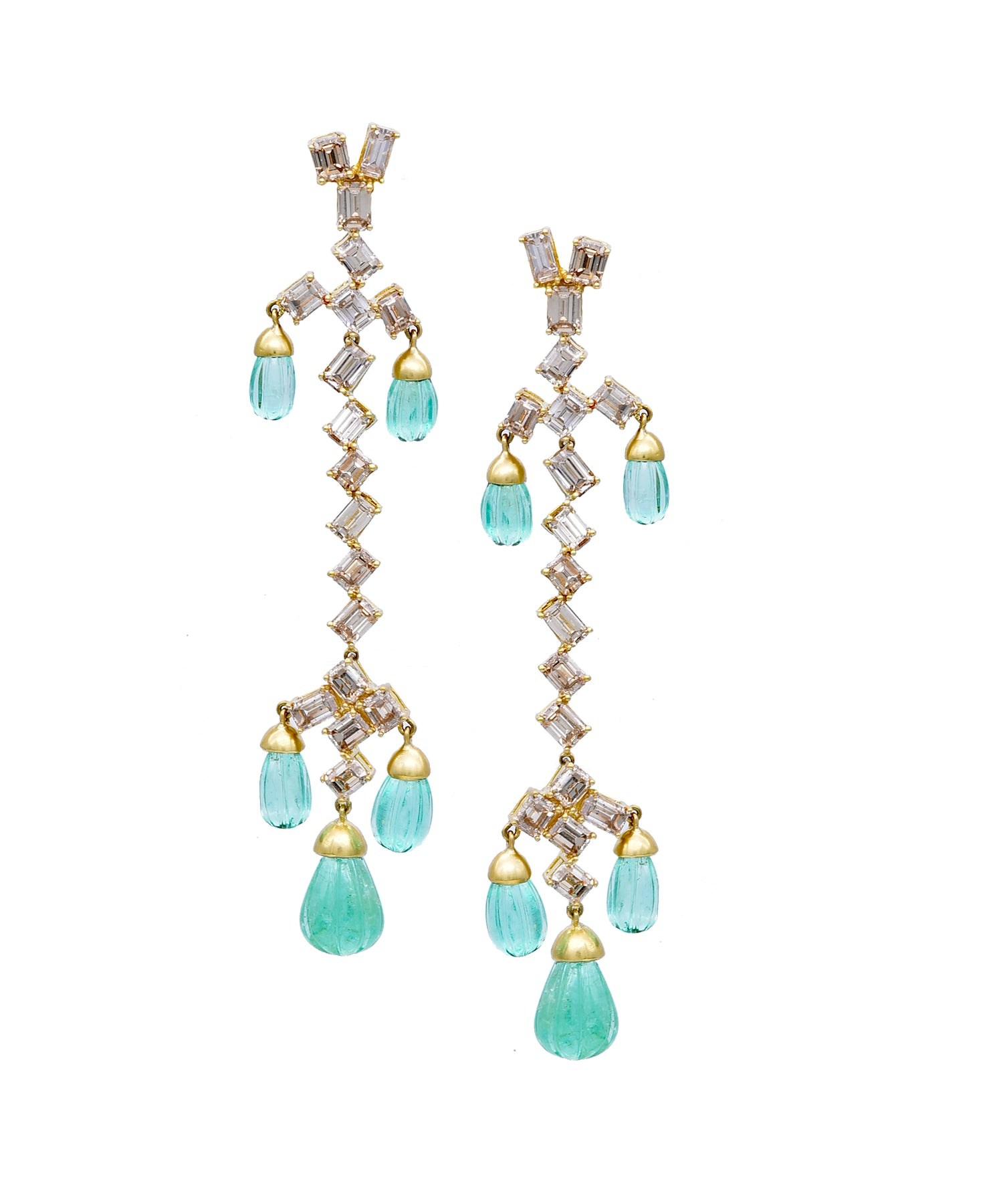 Baguette diamond and emerald earrings
