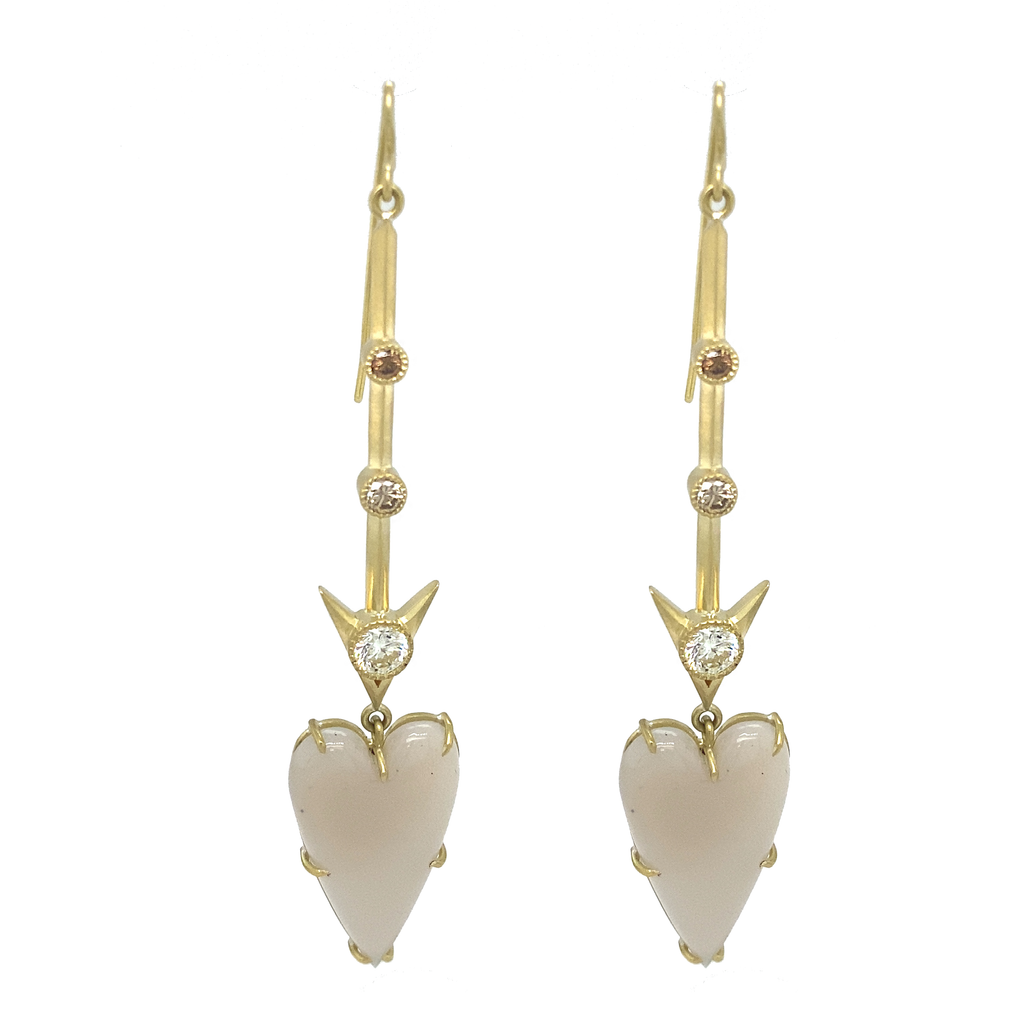 Agate Heart Drop Earrings - Lesley Ann Jewels