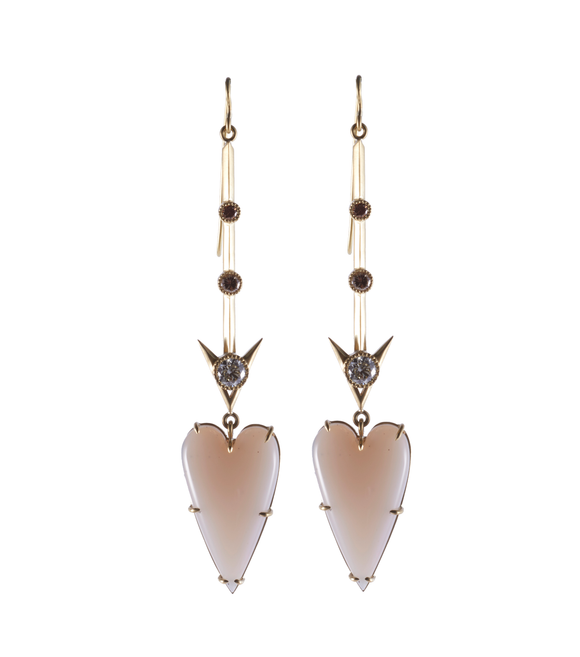 Agate Heart Arrow Earrings - Lesley Ann Jewels