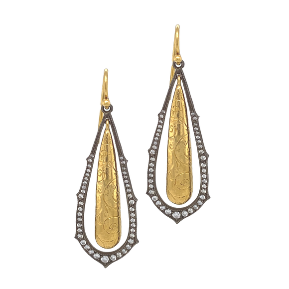 Engraved Gold Drop Earrings - Lesley Ann Jewels