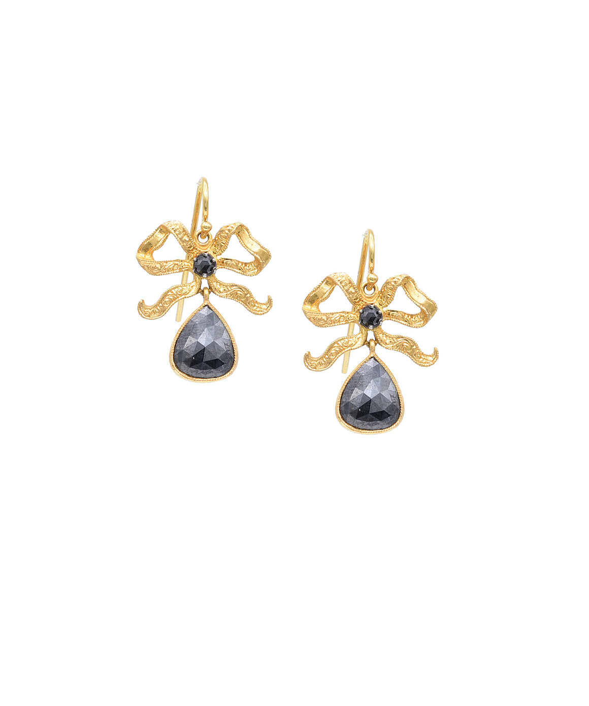 Bow earrings with black diamond drops