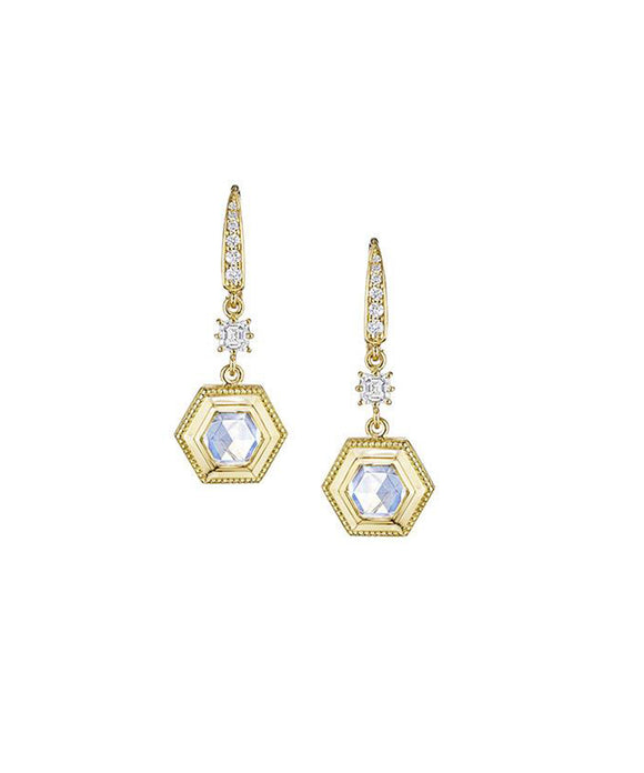 "The moonstones absolutely glow in their 18k yellow gold hexagonal frames. They are topped with round and square diamonds totaling .59 carat. The earrings are about 1 1/4"" long from the top of the hinged wire backs."