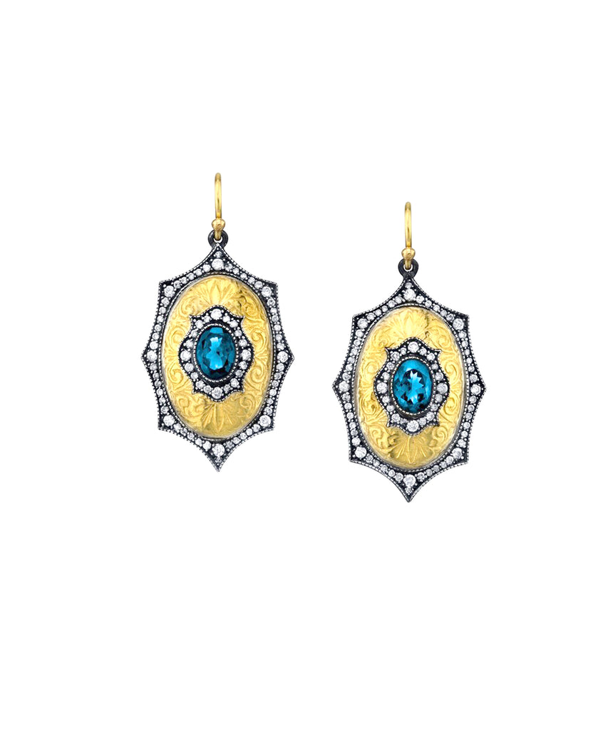 Le Fleur Earrings with Aquamarine - Lesley Ann Jewels