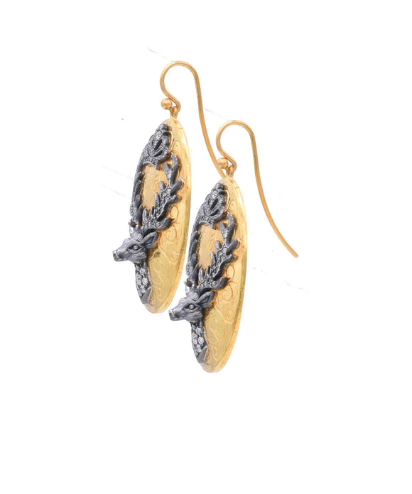 Oval Stag Earrings - Lesley Ann Jewels