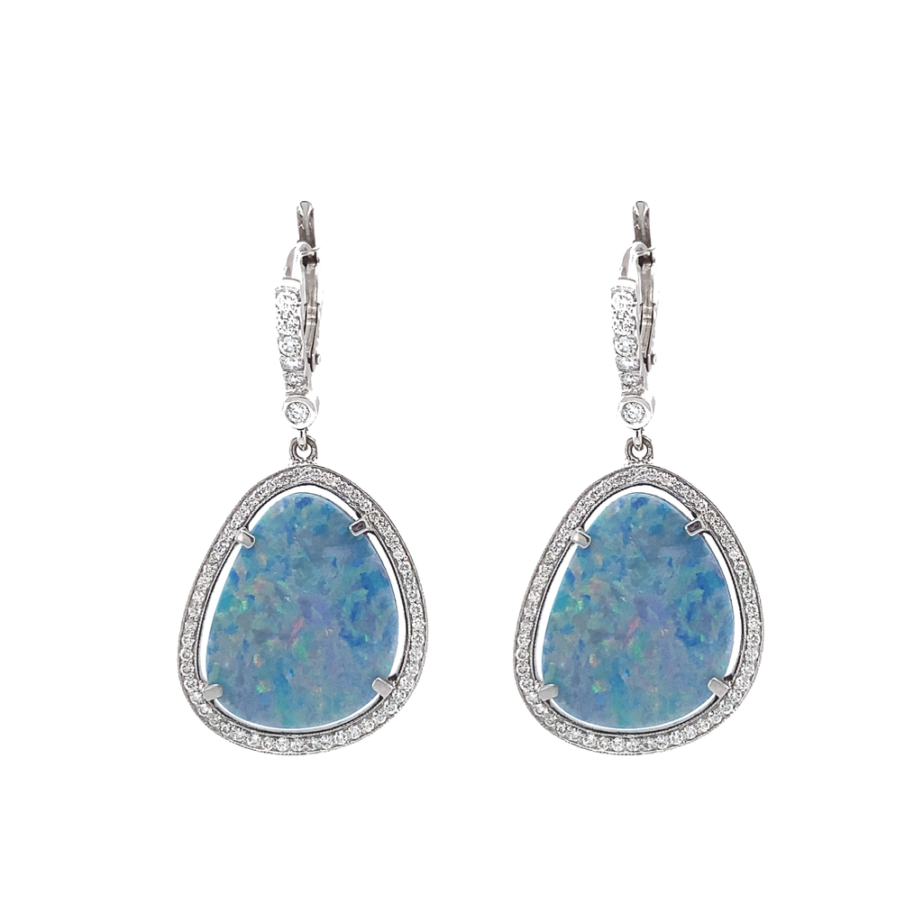 Light Blue Opal Doublet Earrings - Lesley Ann Jewels