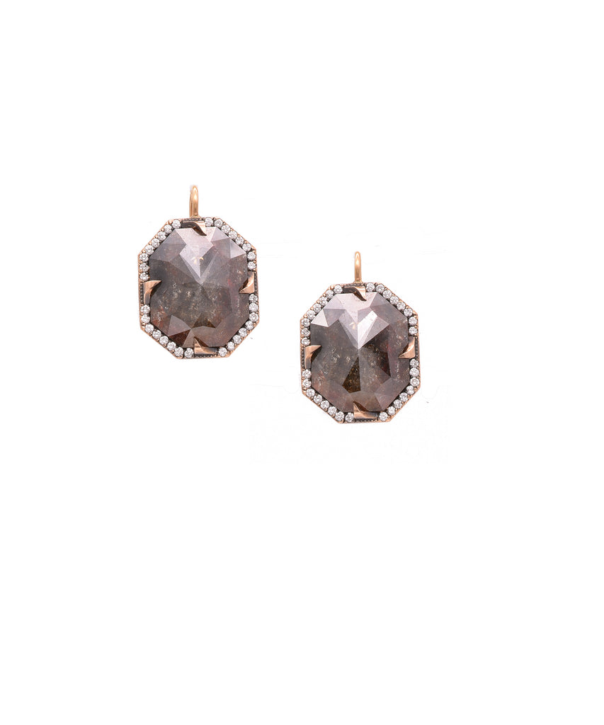 "Rough diamonds totaling 17.18 carats are held by the edgy thorn mounting. The hexagonal stones are trimmed with brilliant diamonds totaling .45 carat. The 14k rose gold earrings are 7/8"" long."