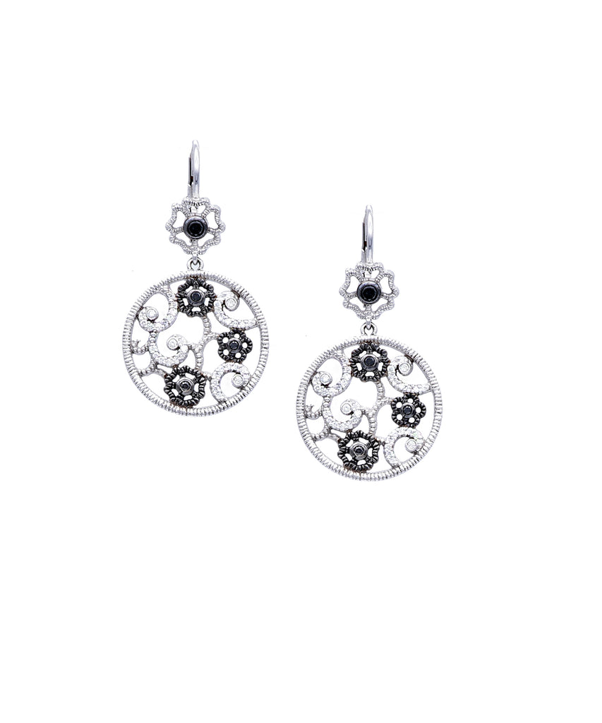 Black Diamond Flower Earrings - Lesley Ann Jewels