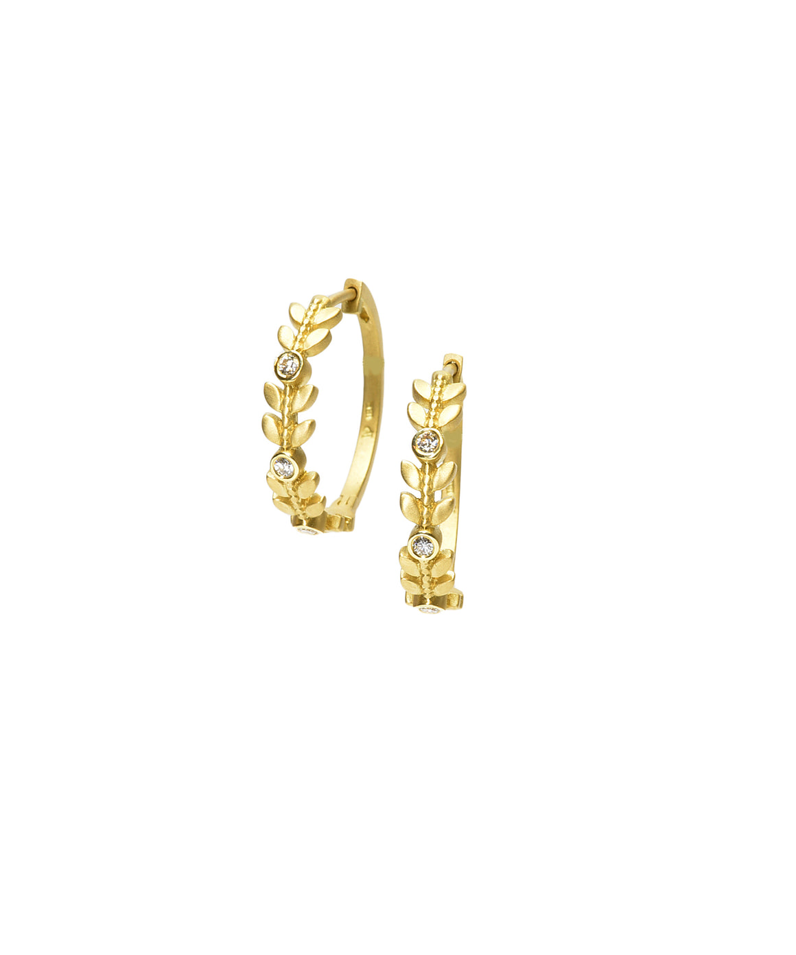 Leaf Hoop Earrings - Lesley Ann Jewels