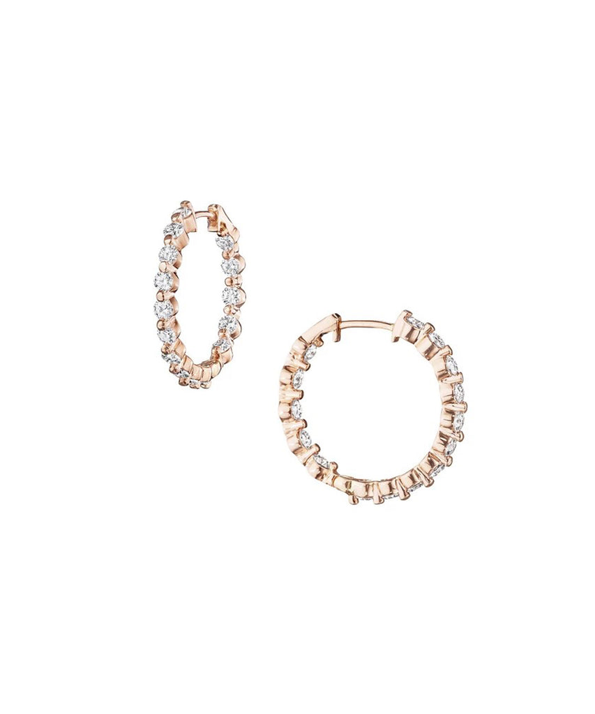 Small rose gold diamond hoops - Lesley Ann Jewels