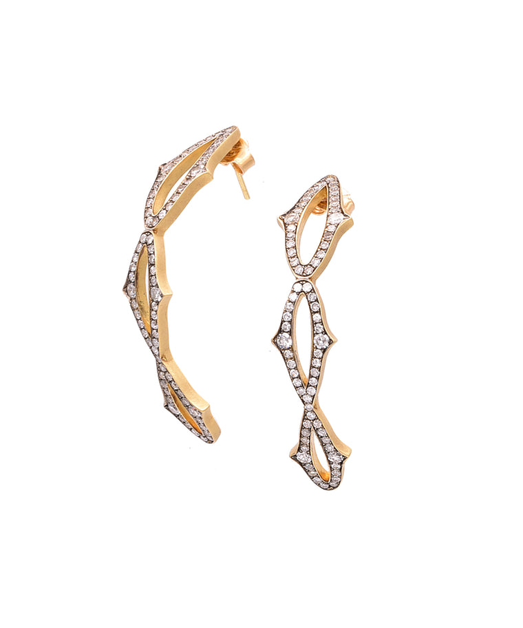 "Just a lovely curve of diamonds, the 18k yellow gold earrings have 1.50 carat of diamonds set in an open design. The earrings are 1 3/4"" long."
