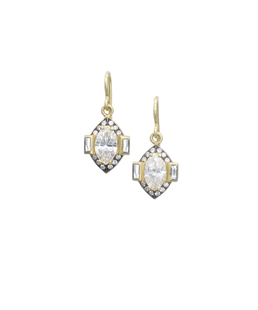 Drop Earrings with Marquise Diamonds - Lesley Ann Jewels